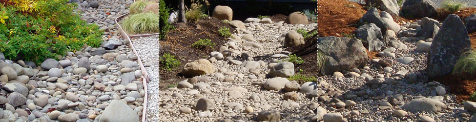 To prevent or alleviate wet spots or standing water, we can install drainage and dry creek beds in Eugene, Oregon