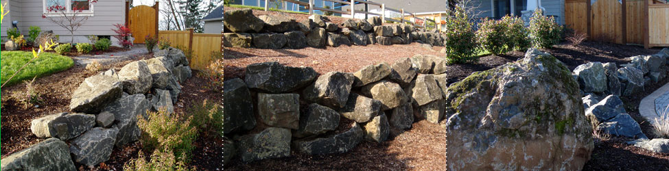 Large boulders and rocks can be used to construct walls and add shape and dimensions to your Eugene landscape